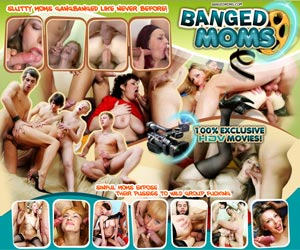 Banged Moms - Sinful moms expose their pussies to wild group fucking