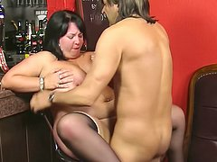 Giant plumper eaten on bar counter