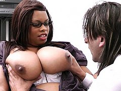 Horny black BBW does boss