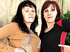 Gorgeous Granny Lesbian Martina Makes Jana Cum!