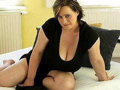 Big breastes housewife playing with herself