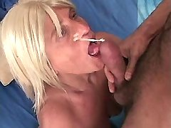 Aged blond mature fucks in all holes n gets facial