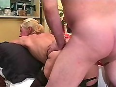 Aged blonde mature sucks dick n fucks from behind