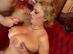 Blonde busty mature fucks with guy on sofa n floor