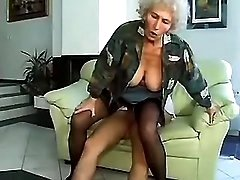 Ugly old granny rides young dick