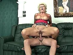 Blonde hungry grandmom sucks and jumps on old cock