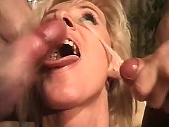 Blonde mature fucks in threesome and gets facials