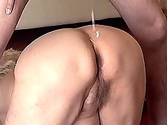 Granny has fuck on floor n gets cumshot on old ass