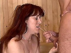 Depraved mature has sex in sauna and gets facial