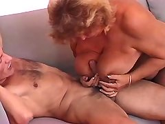 Chubby grandma does hot blowjob and gets titsfuck