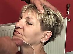 Granny gets fresh facial after sex in diff poses
