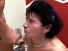 Granny has fuck in different poses and gets facial