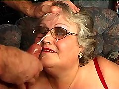 Fat granny gets facial after hot sex in diff poses