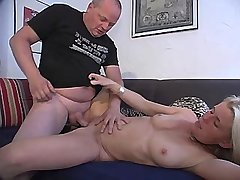 Blonde mature does blowjob and gets cock in pussy