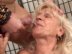 Granny gets facial after hot fuck in all positions