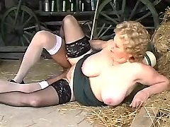 Aged mature with big tits has fun in all poses