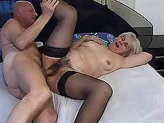 Depraved granny has oral and gets cock in old cunt
