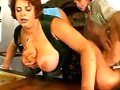 Redhair waitress with big tits has fun w two guys