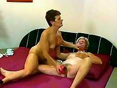 Two old shabby lesbians have dirty fun with dildo