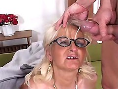 Granny gets facials after gangbang in diff poses