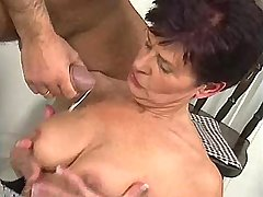 Elder mom fucks in kitchen n gets cumshot on tits
