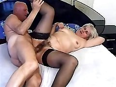 Lewd granny sucks cock of older man