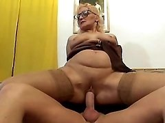 Depraved granny seduces amateur guy