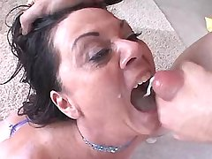 Aged mature fucks from behind n gets cum in mouth