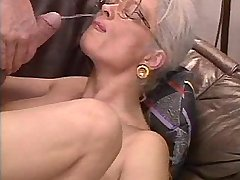 Aged depraved mature gets facial after hard orgy
