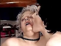 Granny gets hot facial in group sex